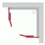 Štvrťkruhové sprchové kúty - Posuvné dvere