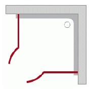Štvrťkruhové sprchové kúty - Otváracie dvere