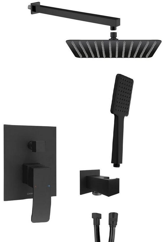 GINKO podomietkový sprchový set s batériou čierna matná