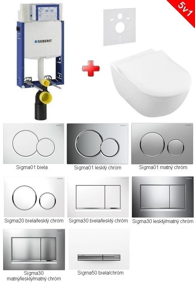 Geberit SET 5 v 1: Kombifix + Villeroy & Boch SUBWAY 2.0 Ceramic Plus, DirectFlush, Softclose