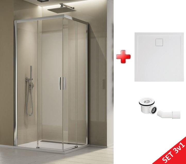 Ronal SanSwiss TOP-LINE S štvorcový sprchový kút 90 cm + vanička z liateho mramoru + sifón
