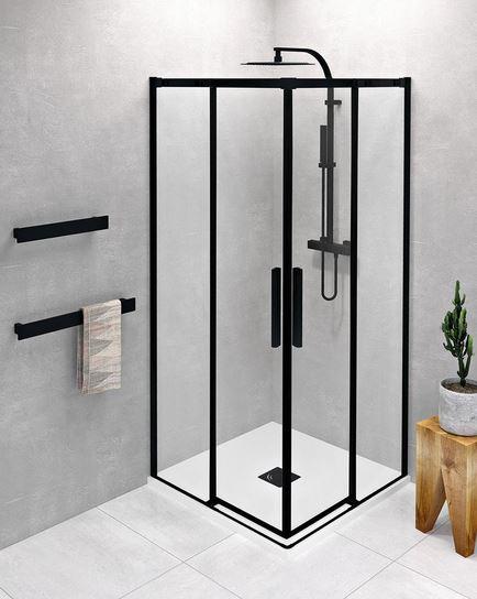 Polysan ALTIS LINE BLACK čierny štvorcový sprchový kút s rohovým vstupom 80/90/100 cm