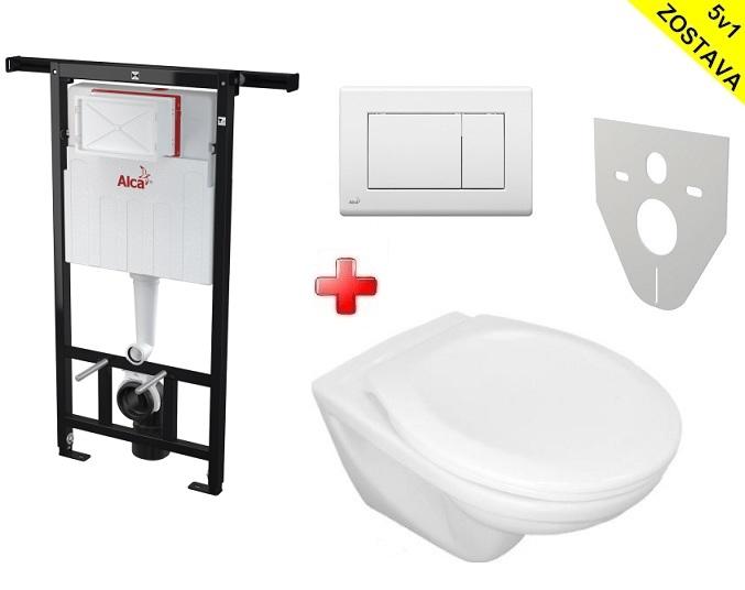 Alcaplast WC SET 5v1 + Jika WC: Jadromodul + WC misa + WC sedátko + tlačítko + izol. doska