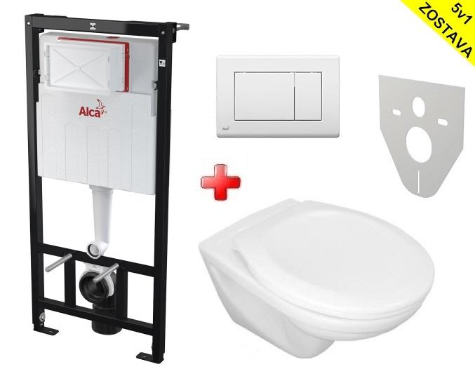 Alcaplast WC SET 5v1 + Jika WC: Sadromodul + WC misa + WC sedátko + tlačítko + izol. doska