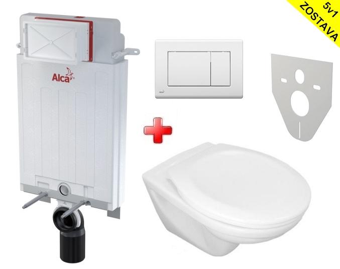 Alcaplast WC SET 5v1 + Jika WC: Alcamodul + WC misa + WC sedátko + tlačítko + izol. doska