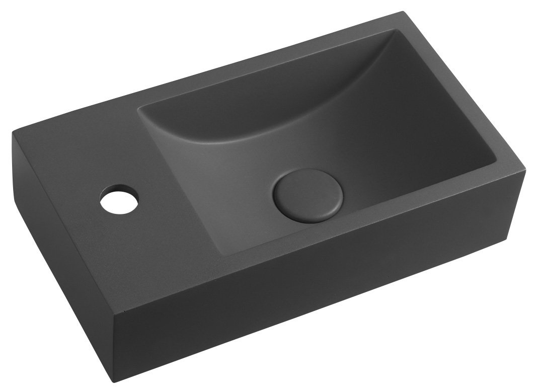 CREST betónové umývadielko 40 cm antracit s výpusťou ľavé