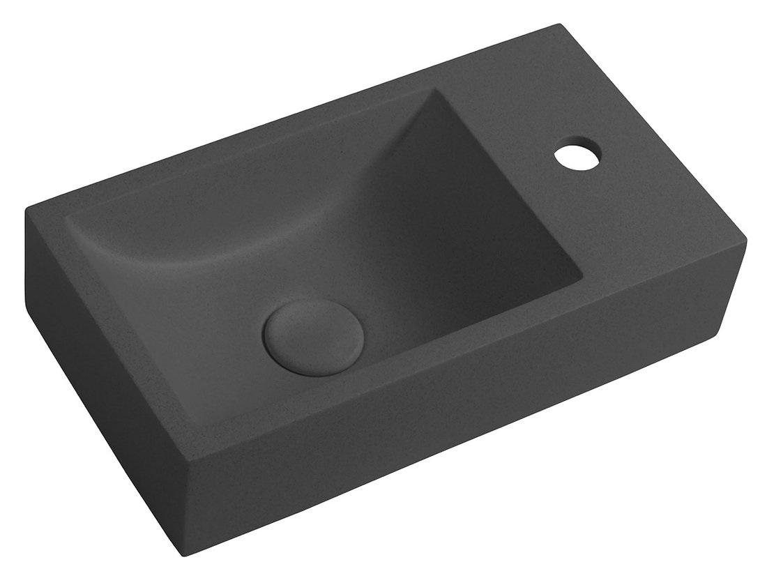 CREST betónové umývadielko 40 cm antracit s výpusťou pravé