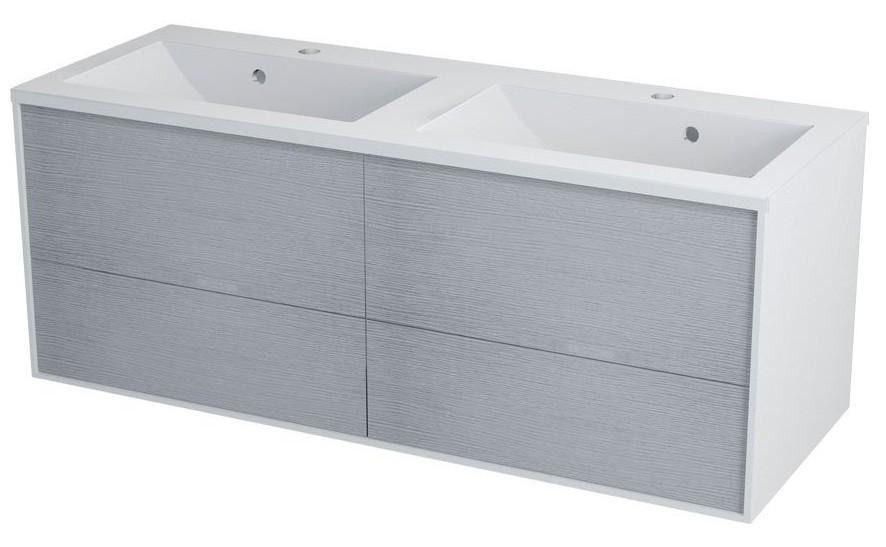 Erra KROMA skrinka pod dvojumývadlo 120 cm, biela/dub strieborný