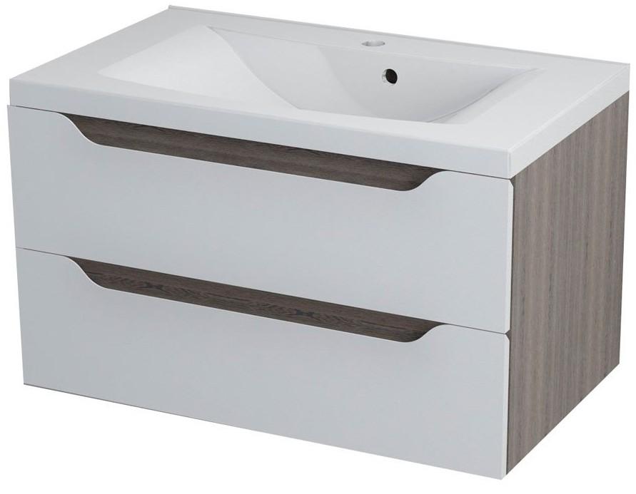WAVE II skrinka s umývadlom 80 cm biela/mali wenge