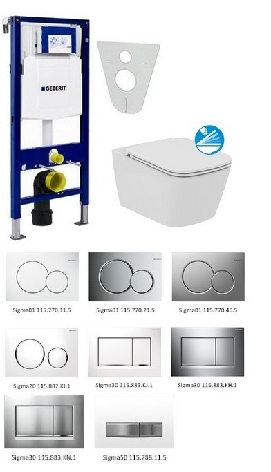 Geberit SET 5 v 1: Duofix + Ideal Standard Mia Rimless, Softclose
