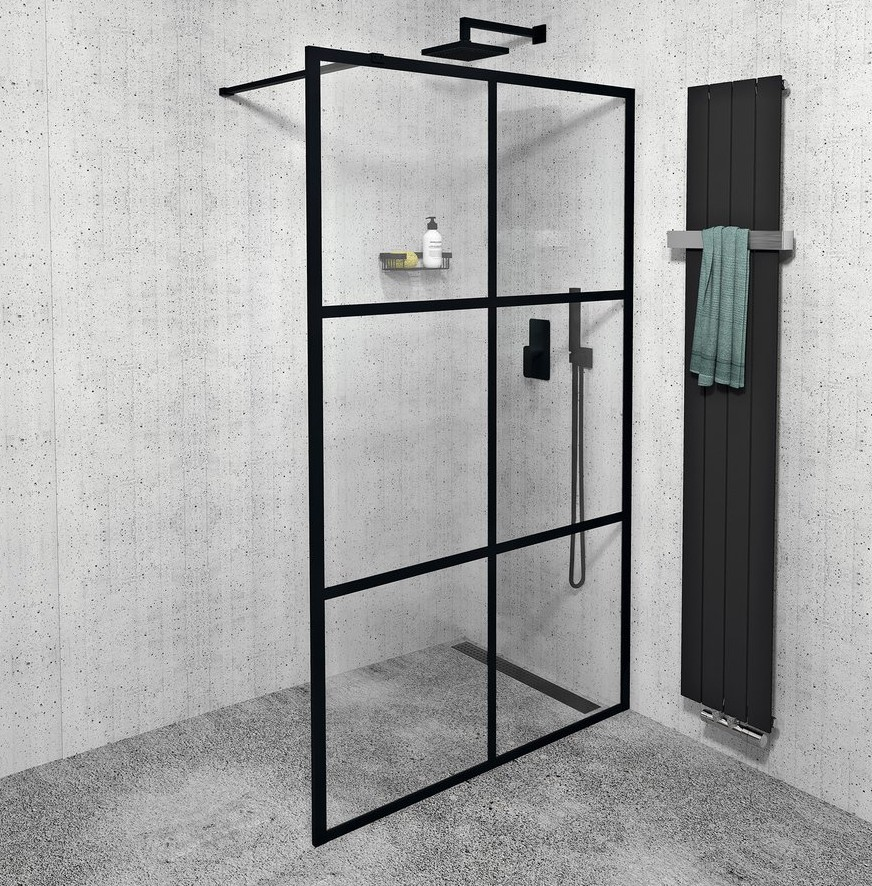 Gelco CURE BLACK WALK IN sprchová zástena 120-140 cm čierna industrial