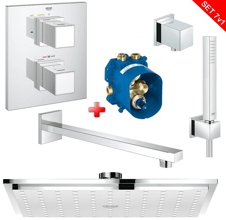 Grohe sprchový set s termostatickou batériou GROHTERM CUBE 7v1 podomietkový
