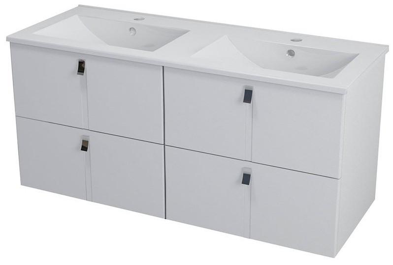 MITRA skrinka s dvojumývadlom 120 cm biela