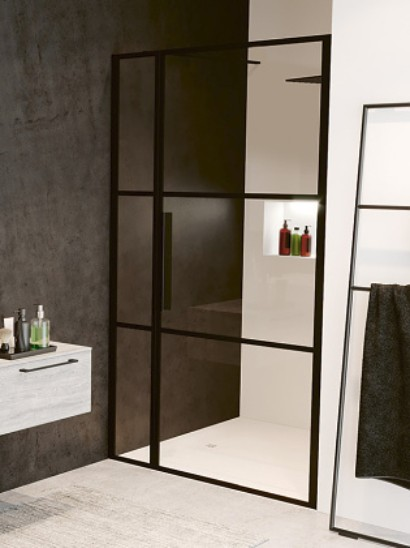 Riho GRID sprchové dvere do niky s pevným segmentom 110-120-130 cm