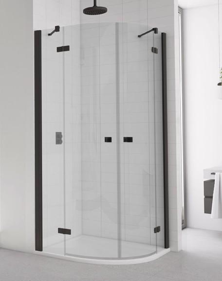 Ronal SanSwiss ANNEA štvrťkruhový sprchový kút 80/90/100 cm čierny