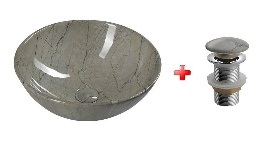 DALMA okrúhle umývadlo na dosku 42 cm šedá