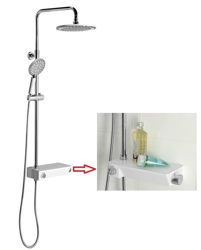 LIAM sprchový set s termostatickou batériou a poličkou