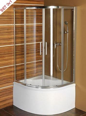 Polysan štvrťkruhový sprchový kút 90 cm SELMA+ hlboká vanička+nohy