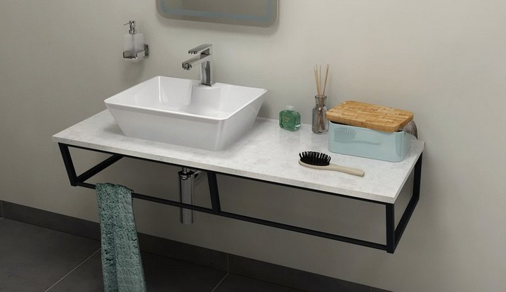 SKA Calacatta doska pod umývadlo s čiernou konštrukciou 120 cm