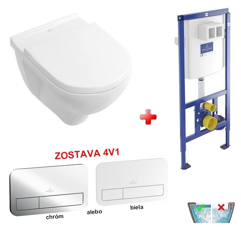 Villeroy & Boch O.NOVO WC misa závesná DirectFlush+sedátko+ duofix +tlačítko zostava 4v1