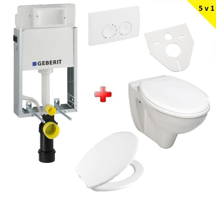Aqualine SET 5v1: Geberit Kombifix + WC misa TAURUS + sedátko + tlačítko