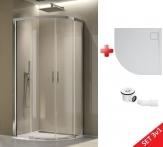 Ronal SanSwiss TOP-LINE S štvrťkruhový sprchový kút 80/90 cm + vanička liaty mramor+sifón