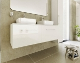Ceramica Latina LOFT1 lesklá biela skrinka pod umývadlá na dosku 120 cm