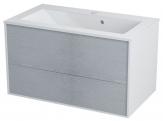 Erra KROMA skrinka pod umývadlo 80 cm, biela/dub strieborný