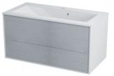 Erra KROMA skrinka pod umývadlo 90 cm, biela/dub strieborný