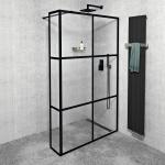 Gelco CURE BLACK bezdverový sprchový kút 120-140 cm x 35 cm čierna industrial