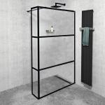 Gelco CURE BLACK bezdverový sprchový kút 70-90-110 cm x 35 cm čierny industrial
