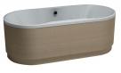 Polysan veľká samostatne stojaca oválna vaňa IO OW 180 x 74 cm biela / dub ferrara