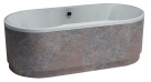 Polysan IO OW samostatne stojaca oválna vaňa 180 x 74 cm biela / metallo šedohnedá