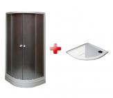 Sam KLASIK-EKONOMY SET štvrťkruhový sprchový kút 80/90 + vanička liaty mramor
