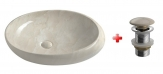 DALMA oválne umývadlo na dosku 68 cm béžová