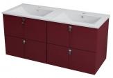 MITRA umývadlová skrinka 120 cm bordó s dvomi zásuvkami