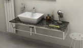 SKA Grigio Carnico doska pod umývadlo s bielou konštrukciou 120 cm