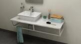 SKA Calacatta doska pod umývadlo s bielou konštrukciou 120 cm