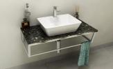 SKA Grigio Carnico doska pod umývadlo s bielou konštrukciou 90 cm
