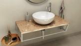 SKA Rosa del Garda doska pod umývadlo s bielou konštrukciou 90 cm