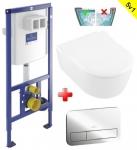 Villeroy & Boch WC SET 5v1: Duofix + WC misa AVENTO DirectFlush+sedátko SoftClose+tlačítko