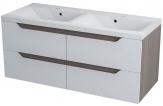 WAVE dvojskrinka s dvojumývadlom 120 cm biela/mali